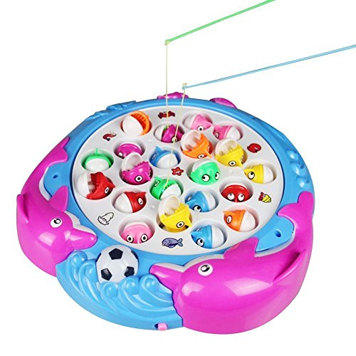 Fajiabao Fishing Toys Musical Fishing Game Rotating Fishing Board Game Toy for Girl Boy Kids 3 Years Old and up