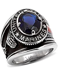 ourJewelleryBox TK130PB SAPPHIRE SIMULATED DIAMOND MENS RING STAINLESS STEEL USA MARINES