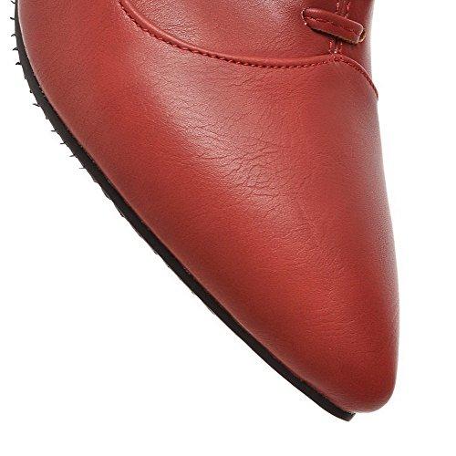 VogueZone009 Femme Lacet Pointu à Talon Correct Matière Souple Couleur Unie Chaussures Légeres Rouge
