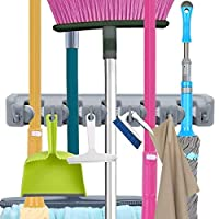 OUZIFISH Mop and Broom Holder, Wall Mounted Garden Tool Organizer Storage Hooks,Ideal Tools Hanger for Kitchen, Garage, Laundry Room (5 Sections & 6 Hooks) Grey
