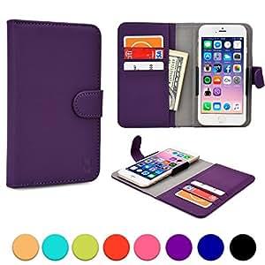 Étui-portefeuille universel Slider pour LG L65/Dual, L70 Dual, L80 Dual Sim, L90 Dual Cooper Cases(TM) en violet (Accès à l'appareil photo arrière; logements pour cartes de crédit, poche directement accessible; fermeture aimantée)