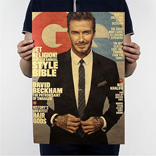 PWERWOTAM David Beckham B Stil/Fußball Fußballstar/Kraftpapier/Cafe/Bar Poster/Retro Poster/Dekorative Malerei Wandaufkleber 51X35,5 cm