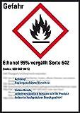 LEMAX® GHS-Etik.Ethanol 99% vergällt Sorte 642,gem.GefStoffV/GHS/CLP,52x74mm,10/Bogen