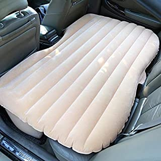 Car Travel Inflatable Mattress Camping Auto Air Bed Inflation Back Seat Extended Couch for SUVs and Sedans and Trucks Beige