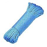 DonDon 30 Meter langes Stoffband Nylon-Schnur Paracord-Seil Survival Band zum Basteln und für Outdoor Camping Aktivitäten 4 mm - 7 Stränge hellblau-rot-grau