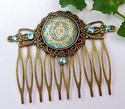 Peigne à cheveux noble avec motif en filigrane en turquoise or