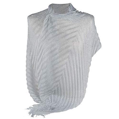 Emila stola cerimonia argento chiaro coprispalle elegante a plissè con frange foulard scialle grande bianca lurex da matrimonio per abito da sera bianco laminato