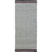 Jute & co Florenz Teppich handgewebt, 100% Baumwolle, Weiß/Rot, 220x 60x 0.5cm