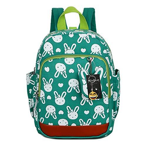 MCUILEE Niedlich Tier Hase Baby Rucksack Kinderrucksack Kleinkind Mädchen Kindergartenrucksack Backpack mit Sicherheit Geschirre Zügel,Grün