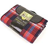Mantel / Manta de picnic Diseño tela escocesa enrollable 2 tamaños - Picnic/Viaje/Naturaleza (200cm x 150cm/Rojo/ Azul marino)