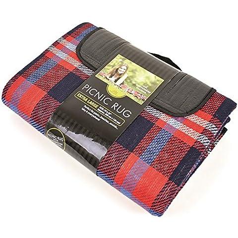 Mantel / Manta de picnic Diseño tela escocesa enrollable 2 tamaños - Picnic/Viaje/Naturaleza (200cm x 150cm/Rojo/ Azul
