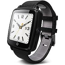 Reloj Bluetooth Smart; Reloj de pulsera inteligente pasómetro rastreador de ejercicios monitor de sueño para iOS y Android Móvil con monitor de ritmo cardiaco, podómetro, cámara remota; PhoneCall y mensajes de recordatorio; Soporta GSM / GPRS 850/90/1800 / 1900MHz, la muñeca reloj Smart Watch