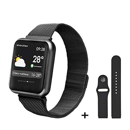 Imagen de soloking pulsera actividad impermeable ip68 con 8 modes de ejercicio,podometro,pulsómetros,monitor de dormir,pulsera reloj inteligente para hombre,mujer,niño negro