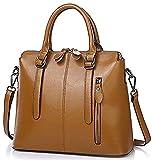 Oruil Braune Shopper Tasche aus Leder Damen Handtaschen aus italienischem Weichem Leder Damen Handtasche mit doppeltem Reißverschluss(Braun)