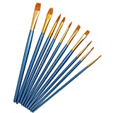 AKORD Multifunctional Nylon Paint Brushes, Plastic, Sky Blue, Set of 10