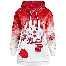 Cebbay Femmes Noël Imprimé Sweat à Capuche Manche Longue Sweatshirt Kangaroo Pocket Pull Pullover Bonhomme de Neige