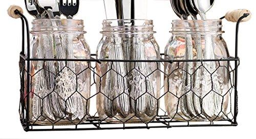 Set von 3klar Glas Mason Gläser in Draht Tablett mit Griff aus Holz, Besteck Caddy Organizer Set für Home & Partys - Korb Mason-gläser
