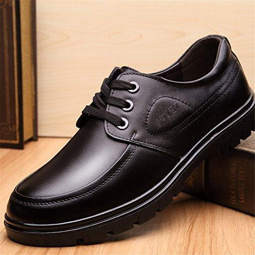 HUAN Hommes Casual Hommes chaussures en cuir printemps été automne confort chaussures formelles à lacets pour noir décontracté Black