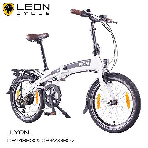 "NCM Lyon 20\"" Zoll E-Faltrad,Klapprad,E-Bike,Pedelec,Elektrofahrrad,36V 250W Bafang Heckmotor,36V 8Ah 288Wh PANASONIC Zellen Rahmen Akku in matt weiß/anthrazit … (matt weiß)"