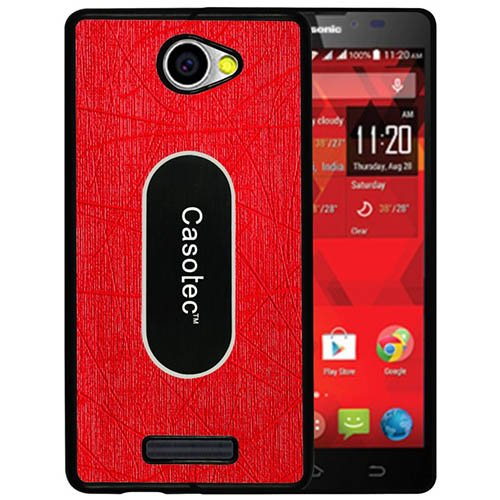 Casotec Metal Back TPU Back Case Cover for Panasonic P55 - Red