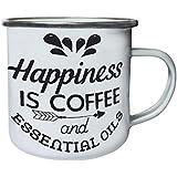 La Felicidad Es El Café Y Los Aceites Esenciales Retro, lata, taza del esmalte 10oz/280ml j908e