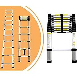 Leogreen - Echelle Telescopique, Échelle Extensible, 3,2 mètre(s), EN 131, Charge maximale: 150 kg, Distance entre les marches (échelle déployée): 30 cm