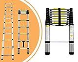 Leogreen Telescopic ladder, Ausziehbare Leiter, 3,2 Meter, EN 131, Maximalbelastung: 150 kg, Gefaltete Größe: 82 x 48 x 8 cm