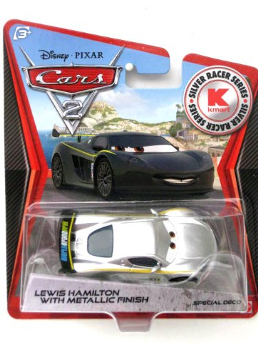 Disney Pixar CARS 2 Exclusive 1:55 Die Cast Car SILVER RACER Lewis Hamilton With Metallic Finish (Cars 2 Disney Diecast)