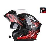 OUTO Aufdeckender Sturzhelm-Motorrad-LED Rücklicht-warnender roter Bluetooth Kopfhörer HD Anti-Nebel Spiegel-voller Gesichts-Sturzhelm kühle Persönlichkeit (Farbe : Black red Devil, größe : M)