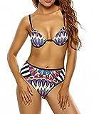 HOMEE Badeanzug - Sommer Western Pool Party Sling Bikini Langer Becher Retro Print Split Badeanzug,Im Bild,M