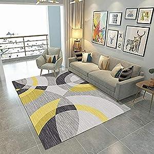 soroucuin store Teppich Waschbar rutschfeste flauschig weich Küchen Kinderteppiche Gelb grau runde Geometrie 8 MM Dicke wohnaccessoires Soft Touch Leben Schlafzimmer Zimmer 120x160 cm