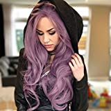 IMSTYLE Peluca delantera de encaje púrpura de color lila con pelo sintético con ondas de agua, pelo natural de Reino Unido pelucas para mujer de 76,2 cm