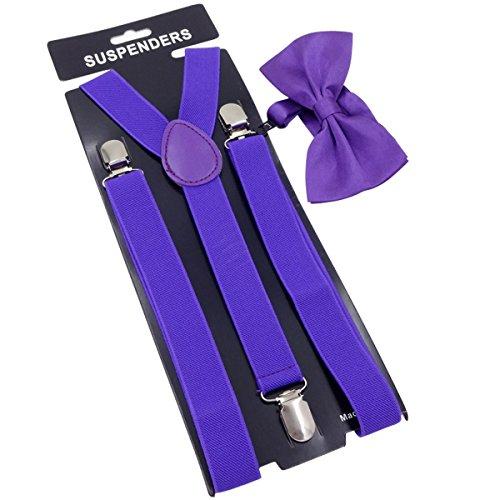 GoGou Klassische Hosenträger und Fliege Set Einstellbare Hosenträger Mode-Accessoire für Männer & Frauen (Purple)