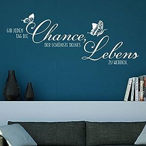 KLEBEHELD® Wandtattoo Spruch Gib jedem Tag die Chance. - Wohnzimmer - Schlafzimmer Farbe schwarz, Größe 80x31cm