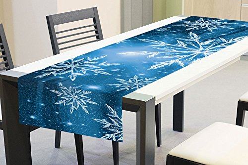 �ufer - Tischdecke - Tischtuch - Tischwäsche Blaue Schneeflocken | 40 x 140 cm | Hochwertiges Sublimationsdruck ()