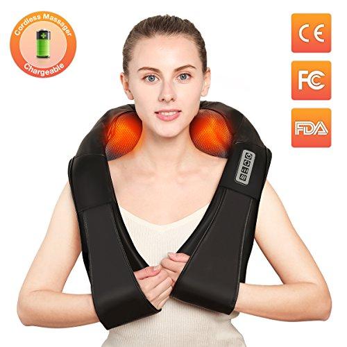 Plus Shiatsu-rücken-massagegerät (Nackenmassagegerät,Charminer Massagegerät-Elektrisch Massager für Schultern, Rücken, Beine, Füße, Arme-Wiederaufladbar natürlichen Shiatsu Massage-Perfektfür Zuhause und Unterwegs mit Autoadapter Schwarz)