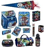 Familando Avengers Schulranzen-Set 16tlg Scooli Campus Up mit Sporttasche Federmappe gefüllt Schultüte 85cm und Regenschutz