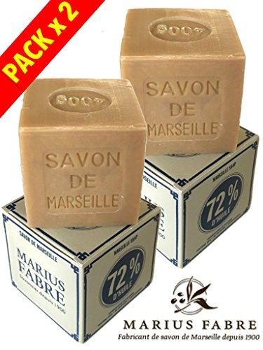 Marius Fabre - SAVON DE MARSEILLE, 400 Gr - Lot de 2 Cubes 400 Gr