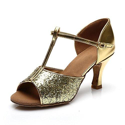 HROYL Damen Tanzschuhe/Latin Dance Schuhe Satin Ballsaal Modell-D7-216 Gold 40 EU - 2