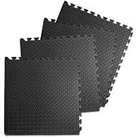 JOM Trainingsmatte, Schutzmatte, Fitness-Sport, Puzzlesystem, Hartschaum schwarz, Set mit 4 Stück á 60 x 60 cm