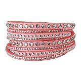 Luxus Damen Armband Wickelarmband Retro Vintage Veloursleder Strass (Rosa)