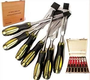 7 Pro Lot de ciseaux à bois-Étui en bois pour outils de charpentier professionnels en chrome-vanadium à la main