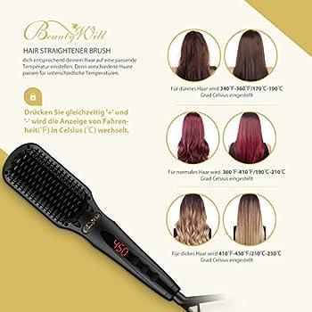 Beautywill Haarglätter-bürste Mit Mch Technologie, Doppel-anionen, Anti-verbrüh-kammzähne Für Eine Schnelle Haarglättung 3