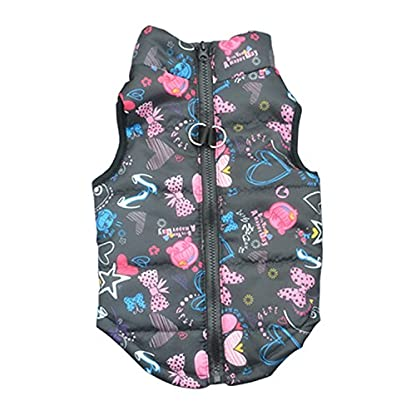 Doggie Style Store Black Heart Bow Dog Pet Puppy Puffer Warm Winter Padded Quilted Vest Coat Jacket Size XS 1