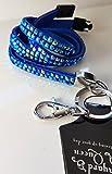 Lanyard Queen - Cordón de seguridad con diamantes de imitación Azul...