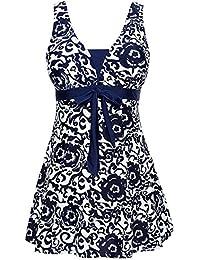 AMAGGIGO Ladies Polka Bikini Dress Plus Size Swimwear Retro Beachwear Halterneck Swimsuit with Boyshort(FBA)