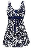 AMAGGIGO Damen Neckholder Push Up Badekleid Figurformender Badeanzug mit Röckchen Bauchweg Einteiliger Badekleid(Dunkelblau, EU 46-48)