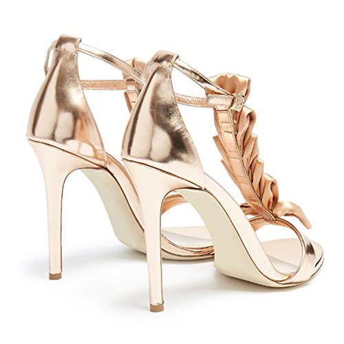 Onlymaker Damen Open Toe T-Spange High Heels Stiletto Sandalen Gold