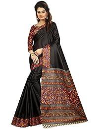 JENCY FASHION Kalamkari 5 Silk Saree With Blouse (BLACK)