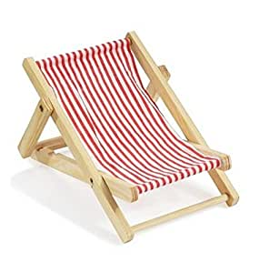 Mini transat chaise longue en bois rouge et blanc 10 cm x for Transat chaise longue bois